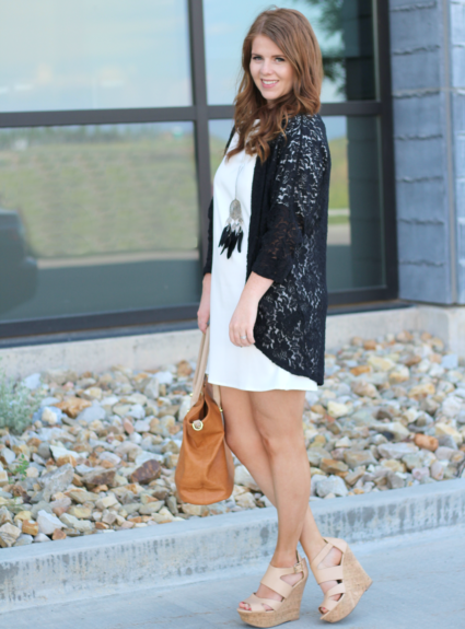 White Dress with a touch of black lace.