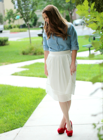 White Textured Skirt