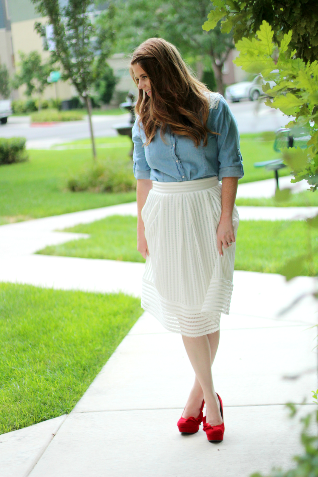 White Textured Skirt graphic
