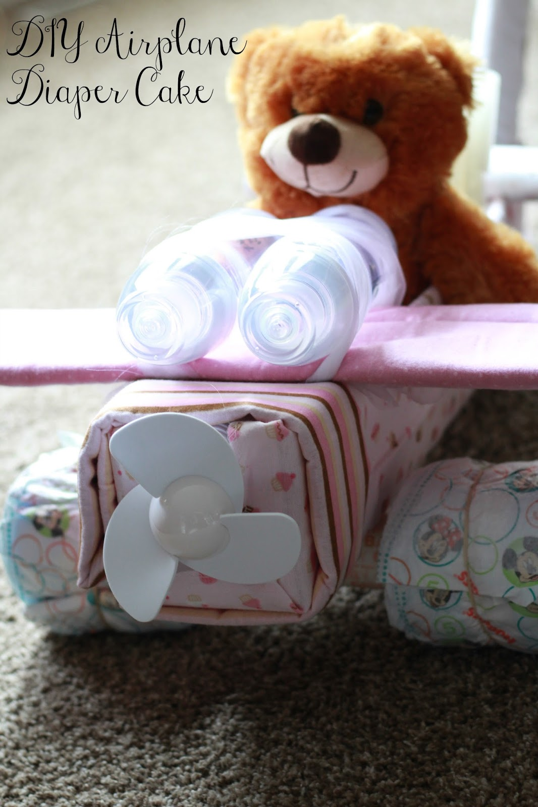 DIY Airplane Diaper Cake graphic