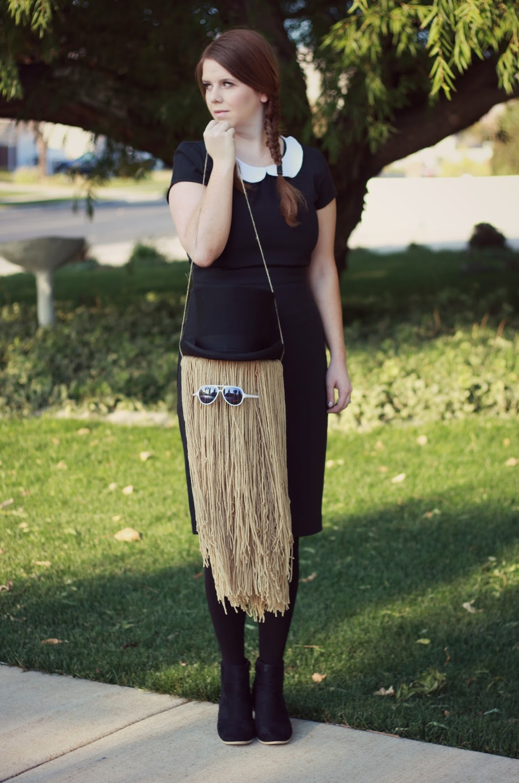 DIY Halloween Costume: Wednesday Addams and Cousin It graphic