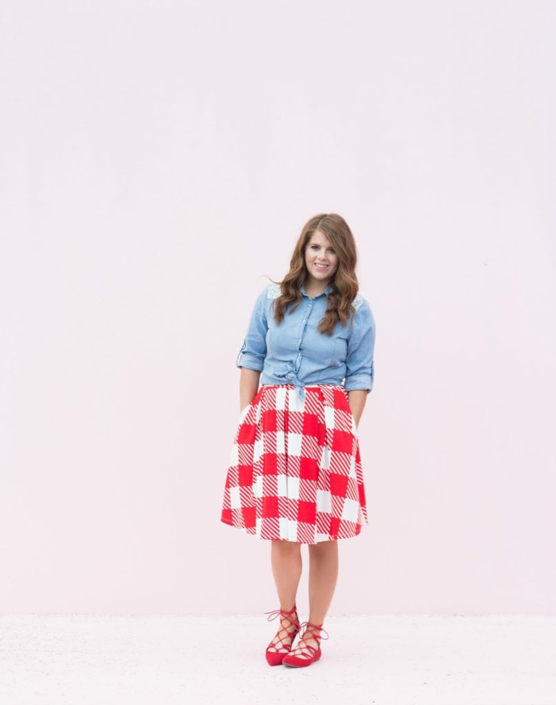 skirt and chambray outfit