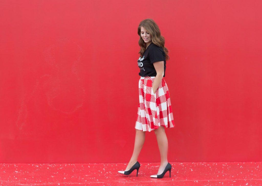 t shirt and skirt