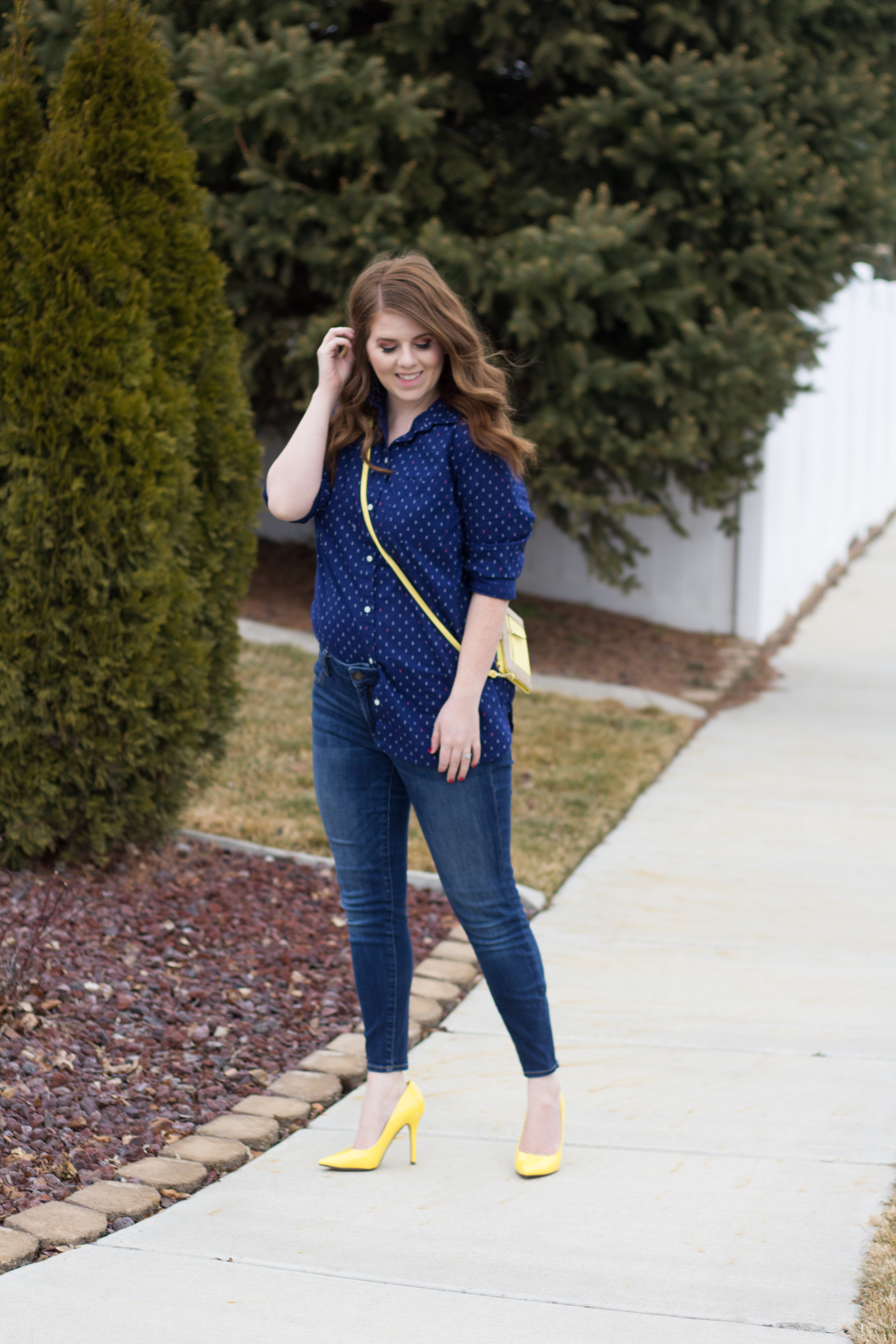 blue outfit and yellow accents