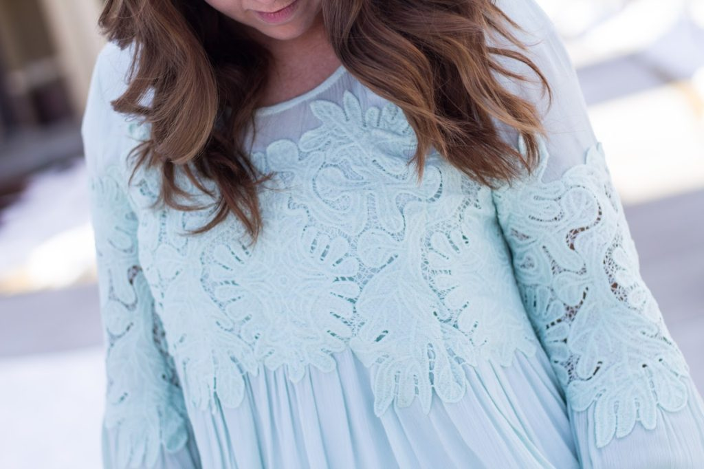 Light green flowy top with lace detail outfit