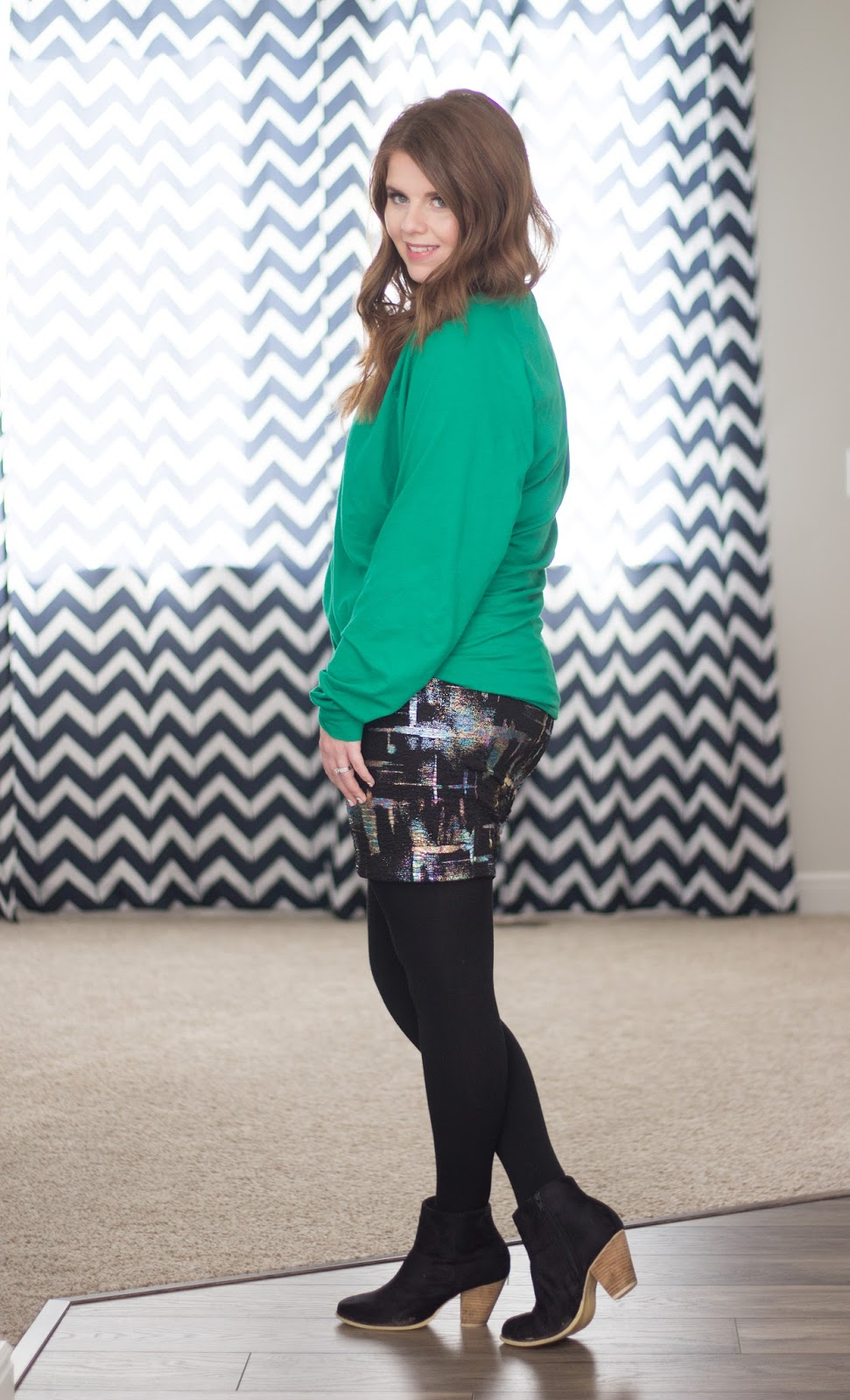 Styling a dolman sweater and a pencil skirt graphic