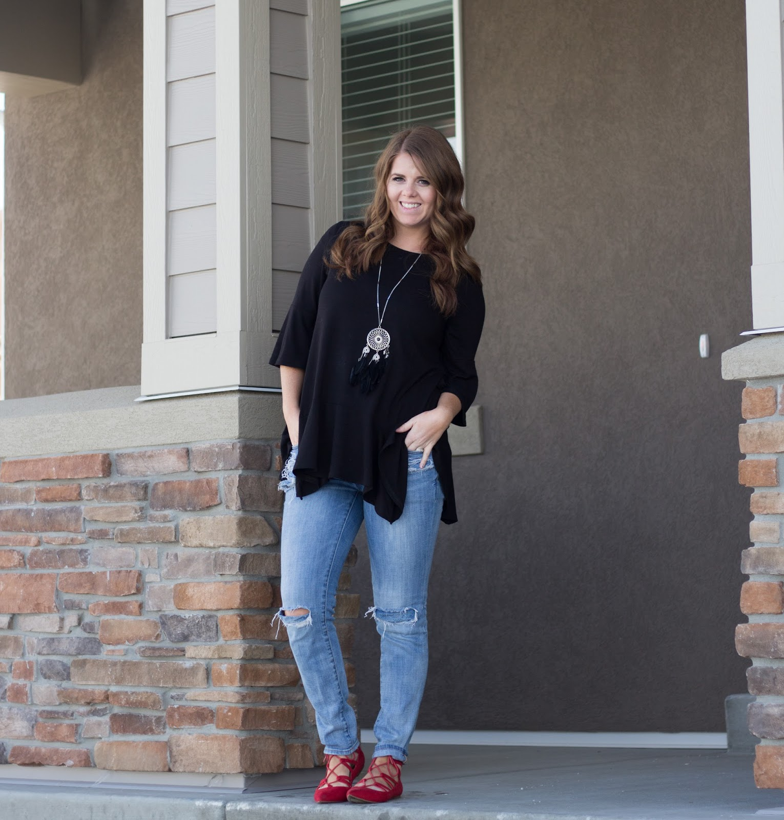 Black Peplum and Distressed Lazy Day Outfit graphic
