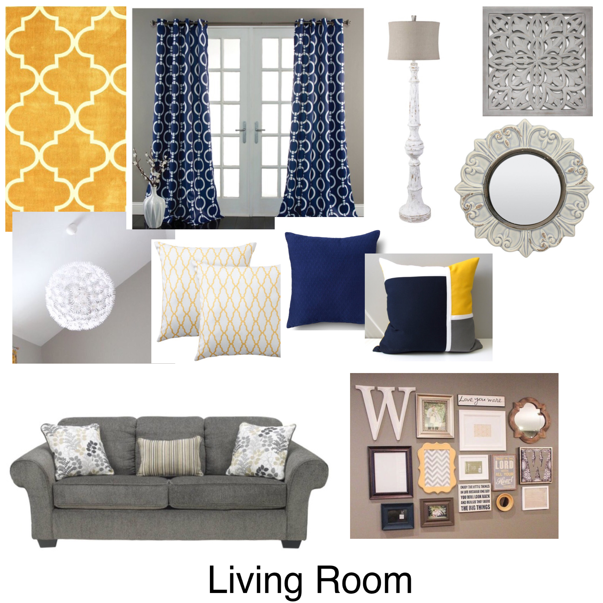 yellow blue white and grey mood board for decorating