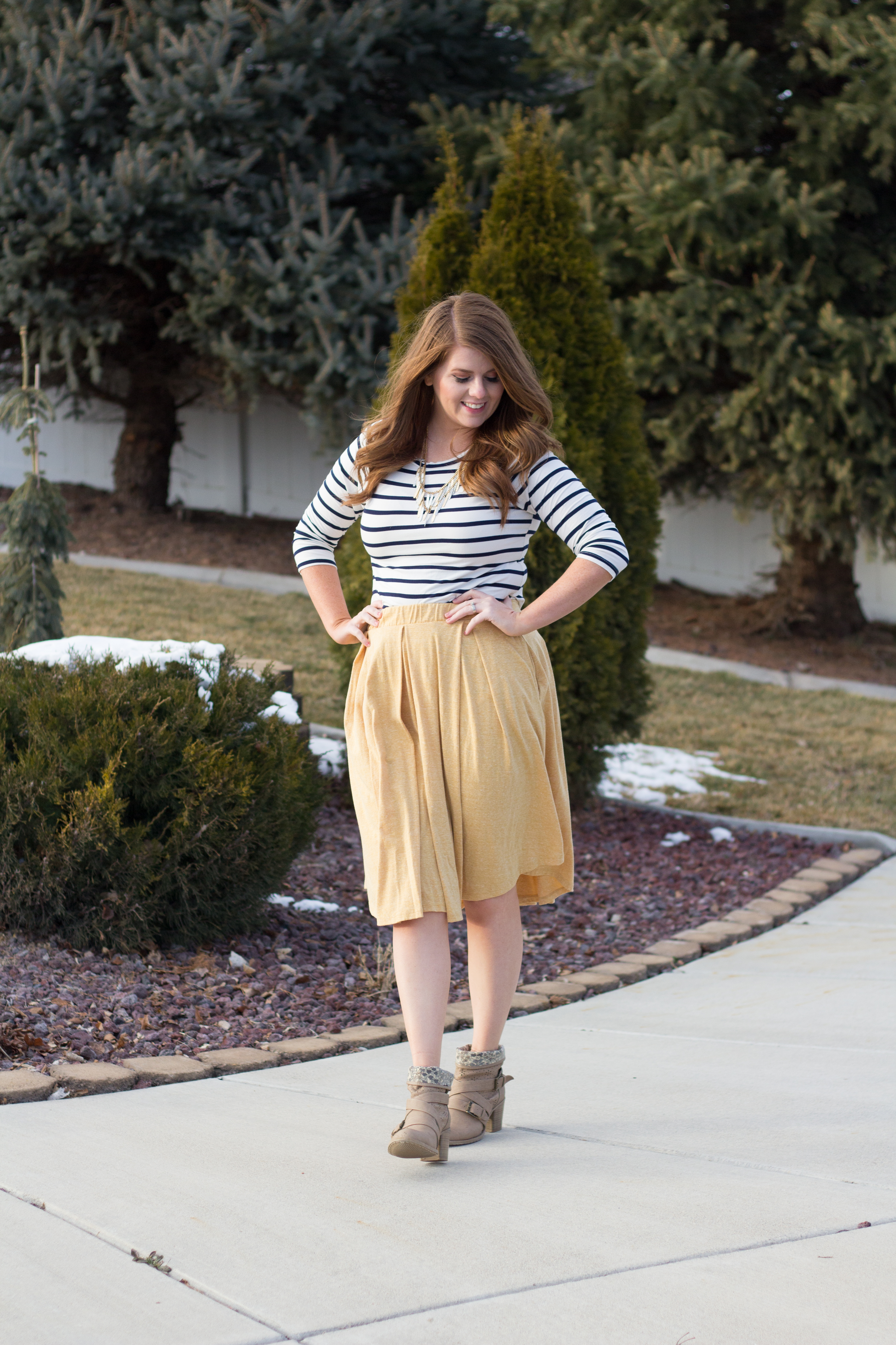 yellow lularoe madison skirt and striped top