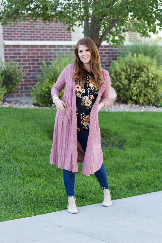 Floral Tee and Mauve Cardigan