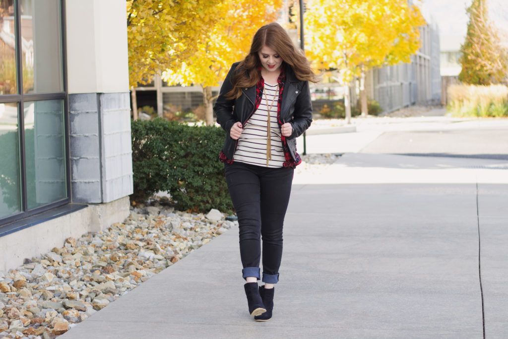 Patterns and Textures: Mixing Plaid with stripes and topping it off with faux leather.