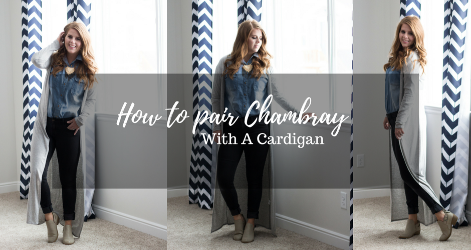 How To Pair Chambray With A Cardigan graphic