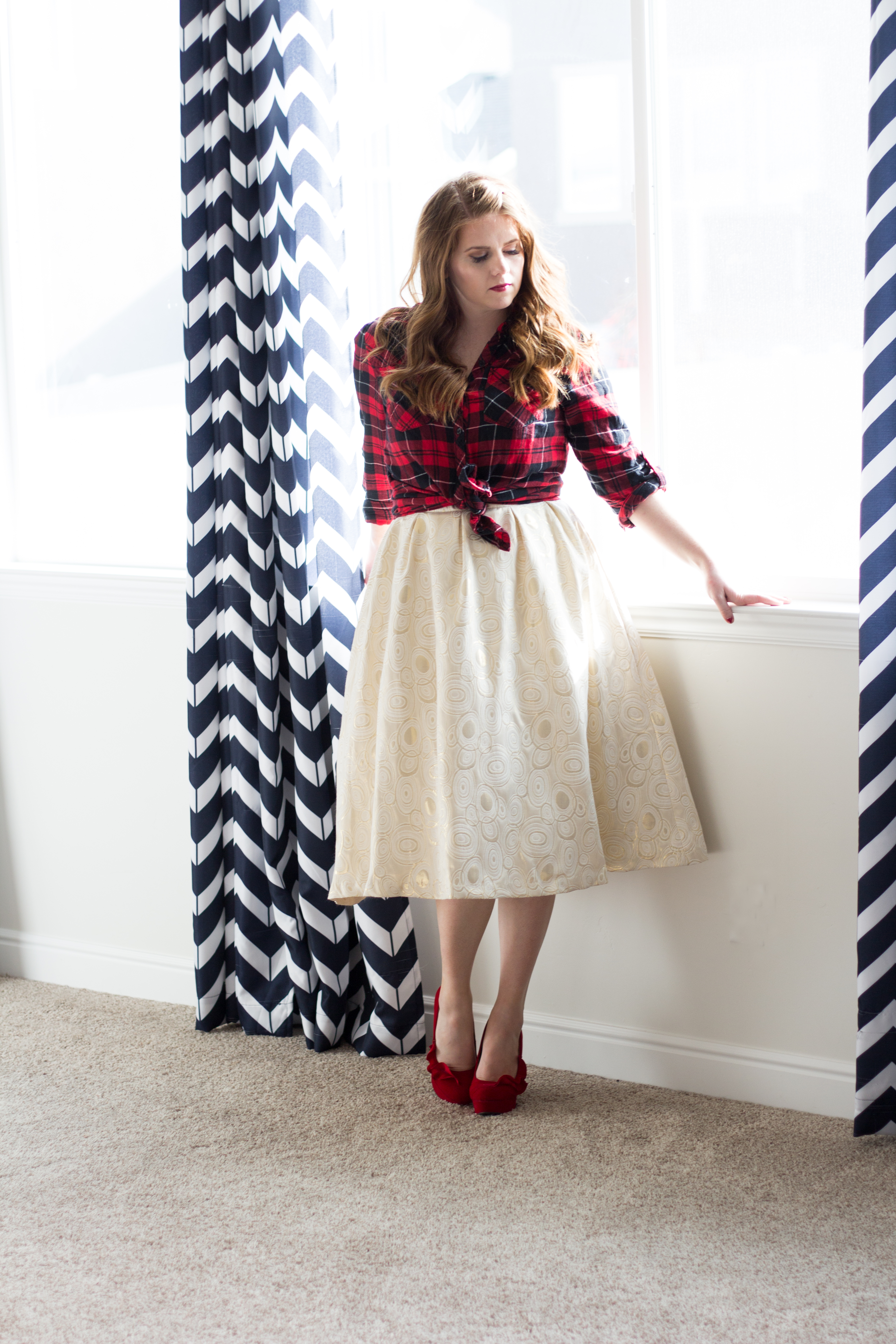 Plaid Top & Delicate Skirt