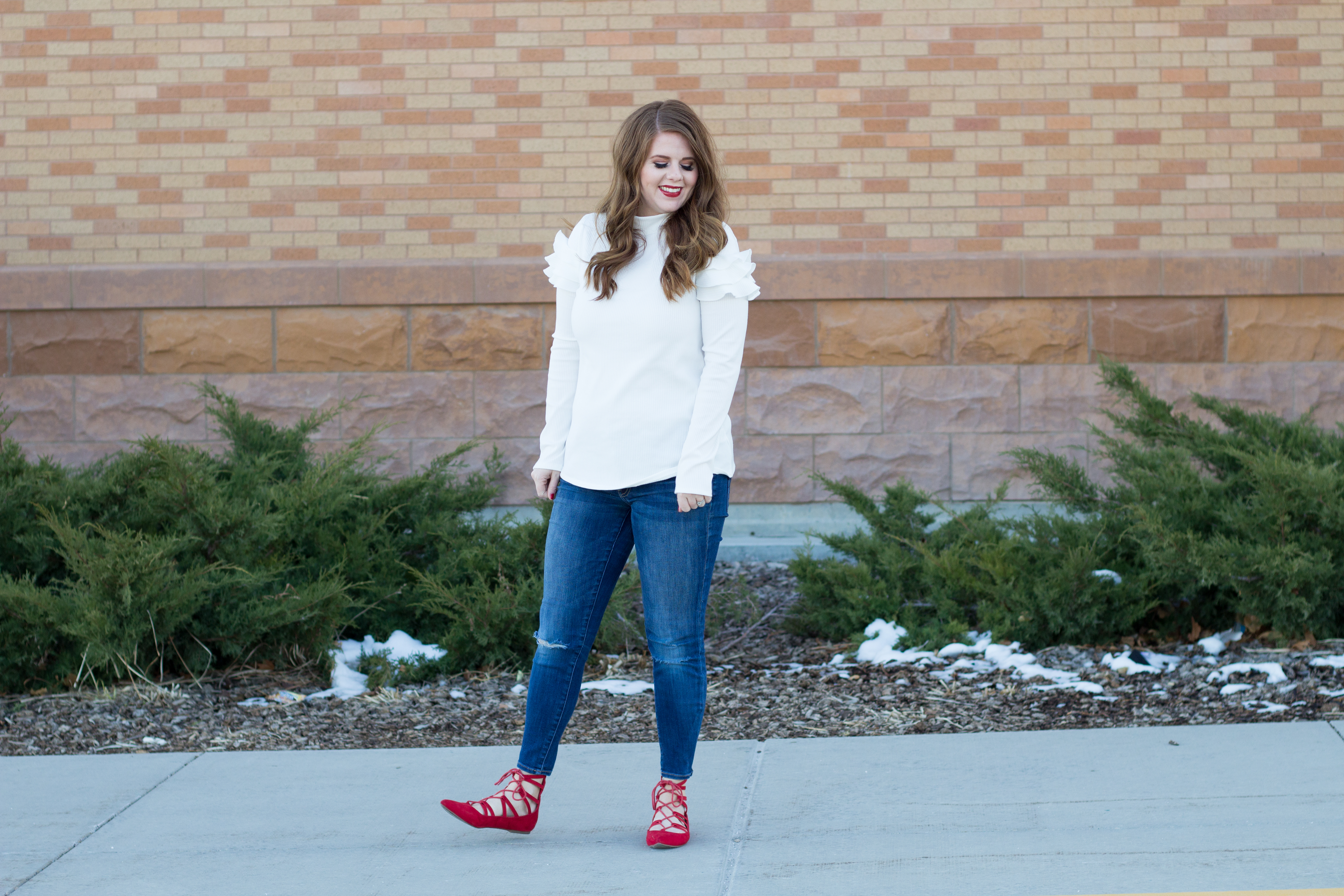 White and Red Valentines Day Outfit
