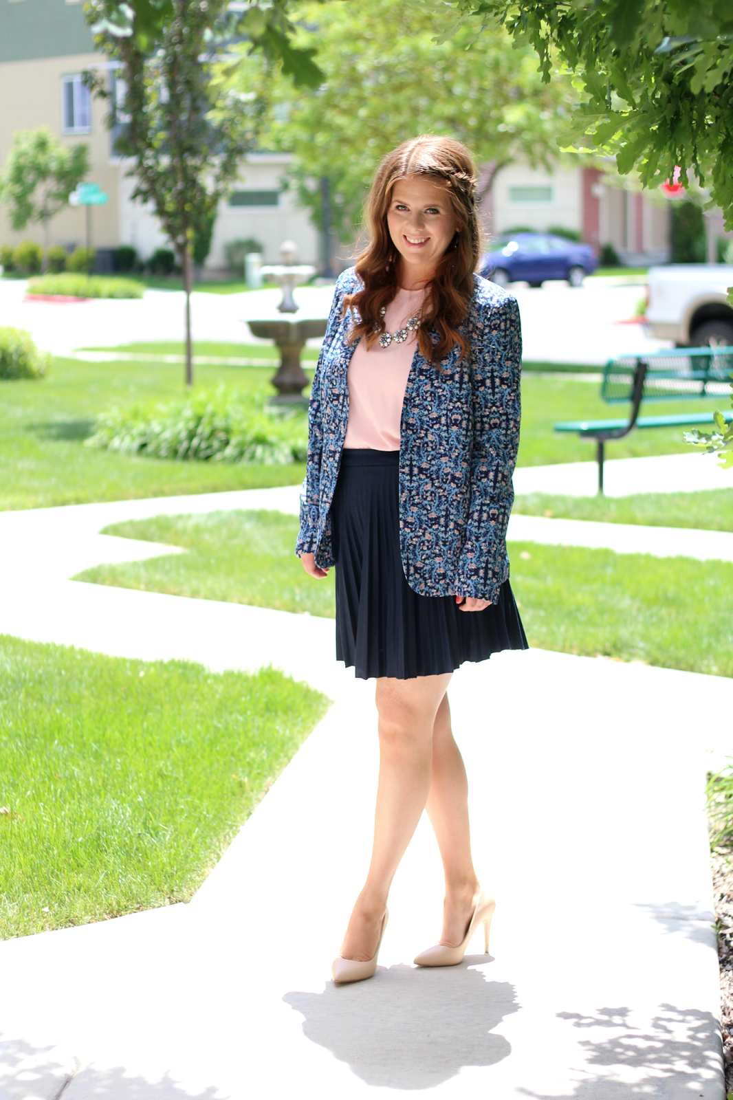 Floral blazer and pleated skirt