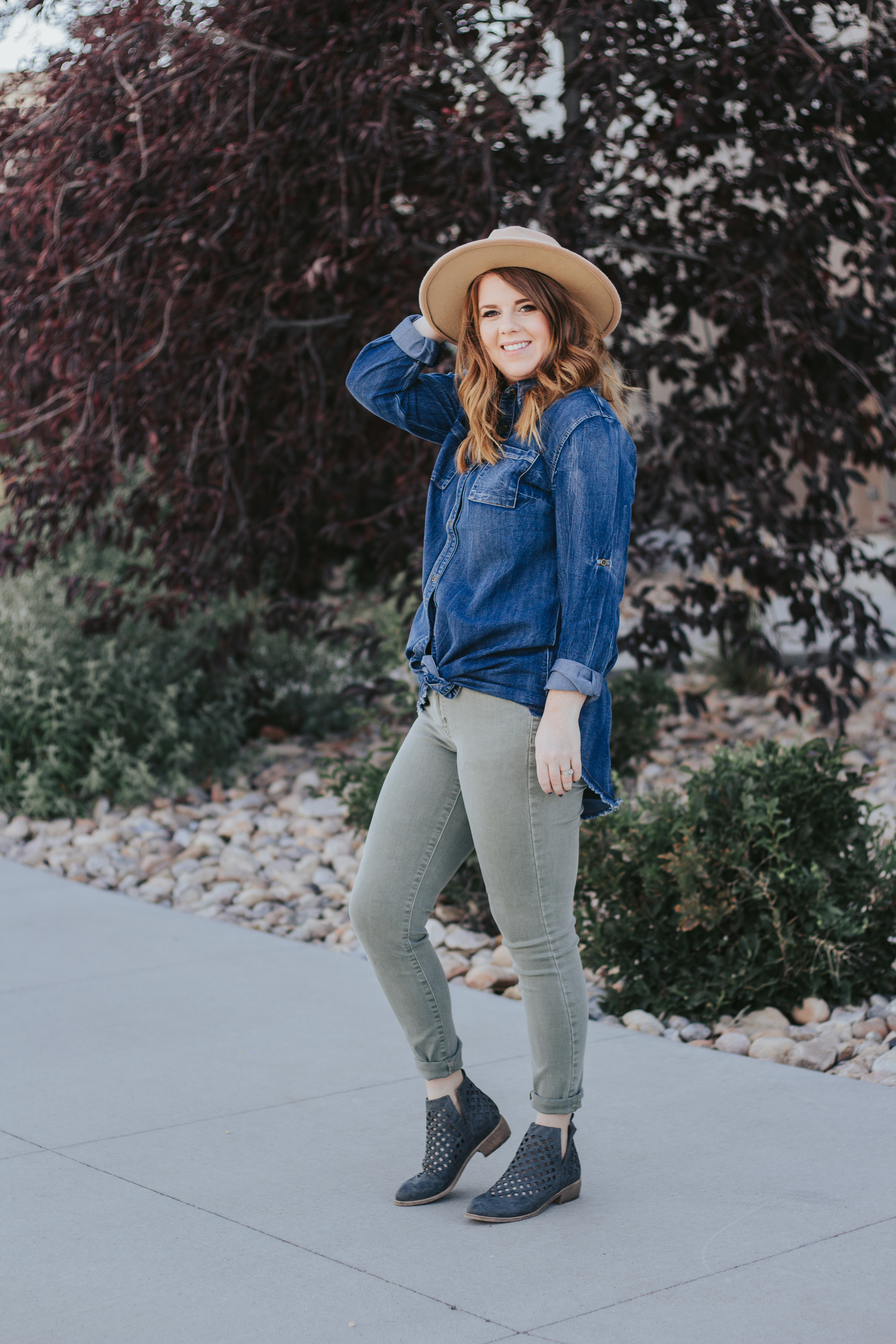 Olive Jeans and Chambray