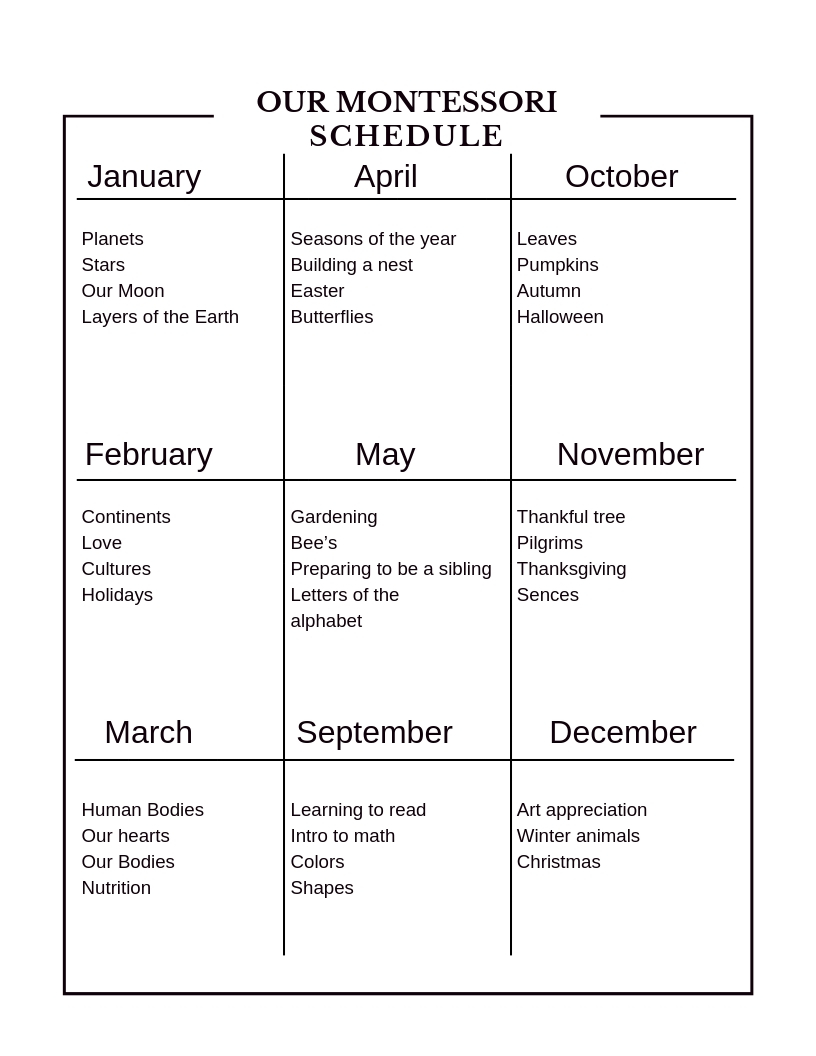 Our Montessori Schedule