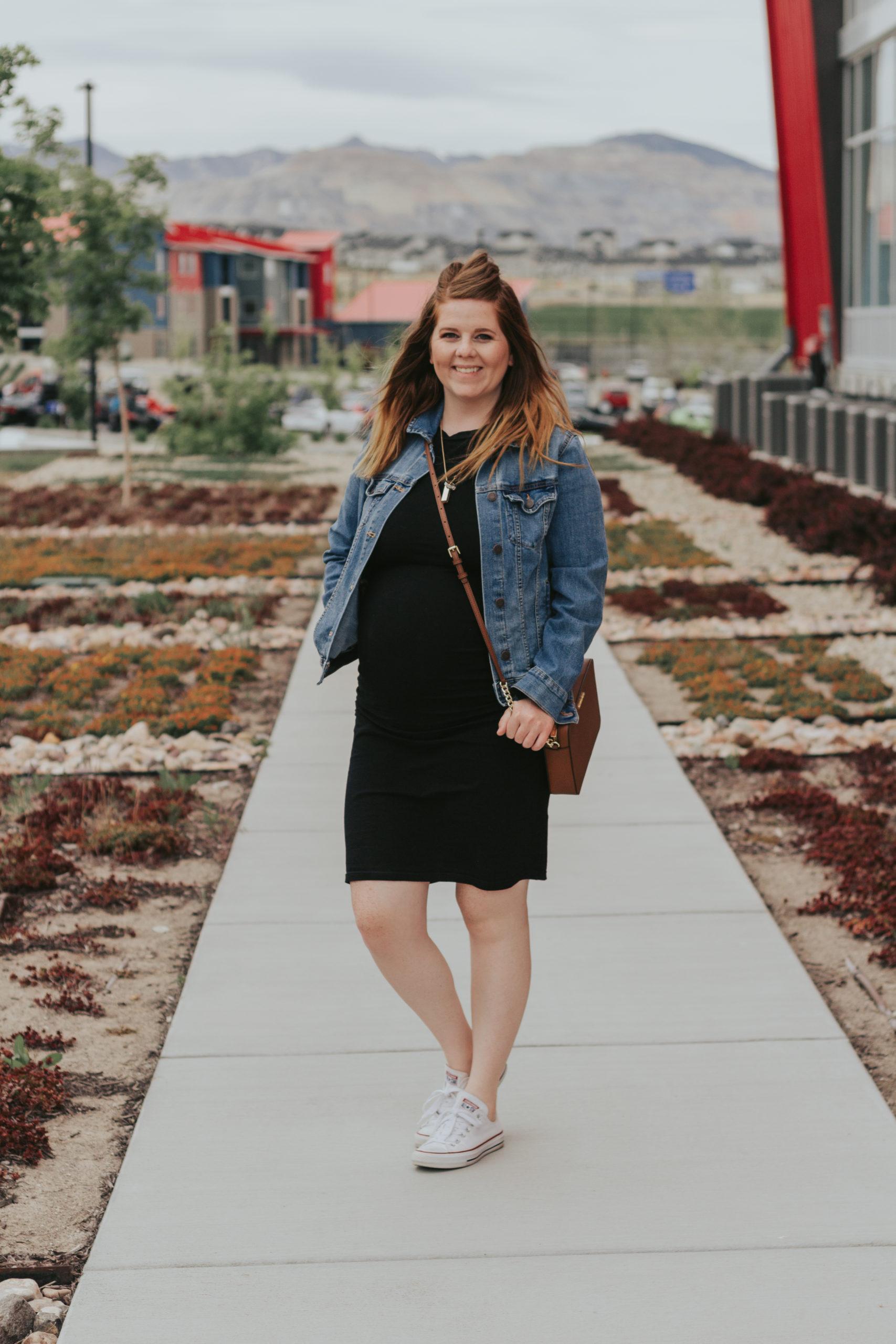 dress with a denim jacket