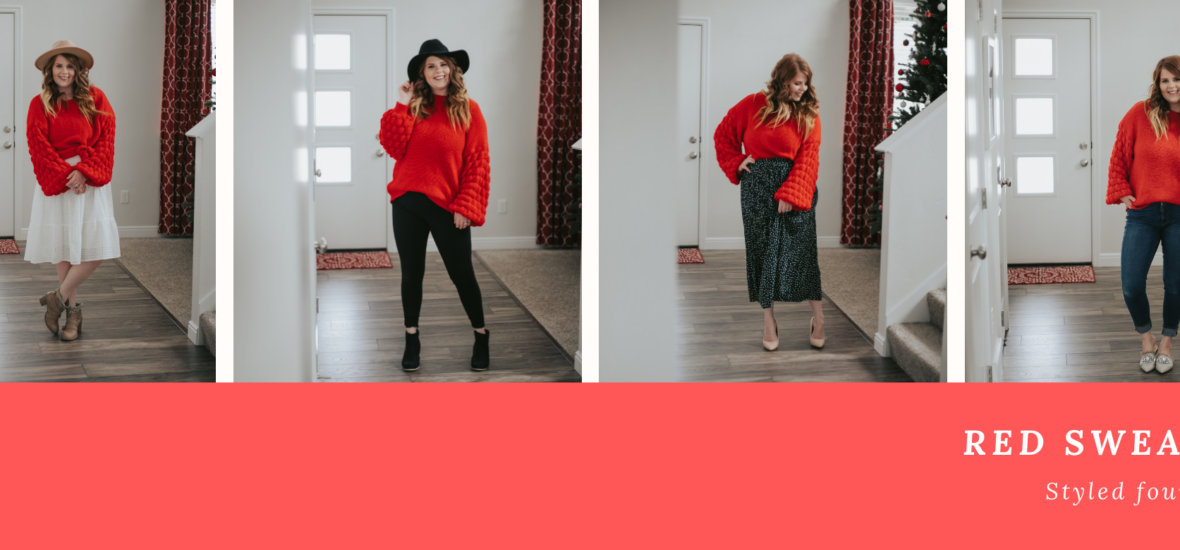 Styling a Red Sweater Four Ways